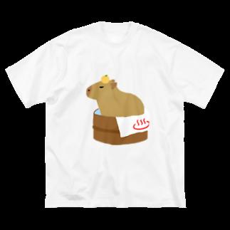 もんたろうの桶風呂に入ったカピバラ Big silhouette T-shirts