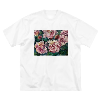 油彩-薔薇- Big silhouette T-shirts
