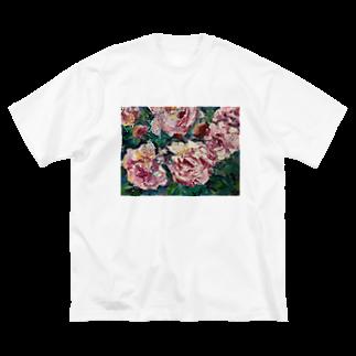 手描きやさんの油彩-薔薇- Big silhouette T-shirts