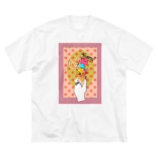 アイスクリームはいかが Big silhouette T-shirts