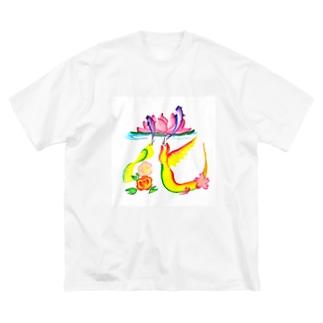 花文字「花」 Big silhouette T-shirts