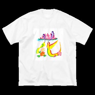 hanamoji-mayuの花文字「花」 Big silhouette T-shirts