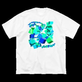 なんでもやのBlocks (blue) Big silhouette T-shirts