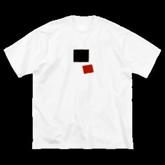 ギャラリーアマネの黒の正方形と赤の正方形 Big silhouette T-shirts