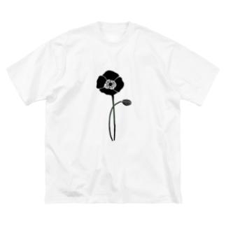 アネモネブラック Big silhouette T-shirts