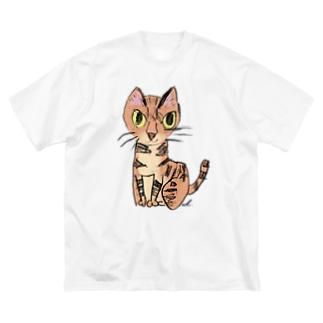 猫のクーちゃん Big silhouette T-shirts