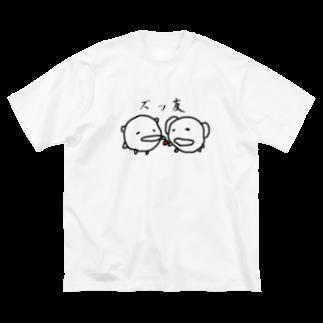 ダイナマイト87ねこ大商会の一度床に落ちた梅干しをいぬにあげるねこです Big silhouette T-shirts