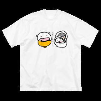 ダイナマイト87ねこ大商会の炊きたてねこごはん Big silhouette T-shirts