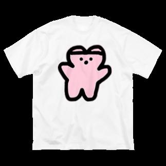 くまくま。ショップのくまくま。めるへんゆめぴんく(春のせい) Big silhouette T-shirts