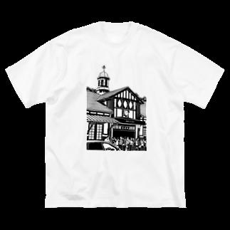 気ままに創作 よろず堂のありがとう原宿駅(切り絵風・枠無し) Big silhouette T-shirts