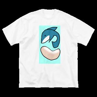 ダイナマイト87ねこ大商会の揚げパンとサメです Big silhouette T-shirts