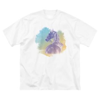 サラブレッドの肖像画Tシャツ Big silhouette T-shirts