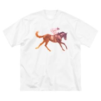 駆ける馬Tシャツ Big silhouette T-shirts