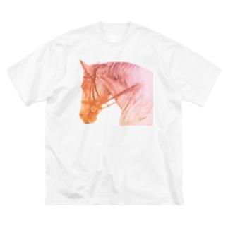 がんばる馬Tシャツ(オレンジ) Big silhouette T-shirts