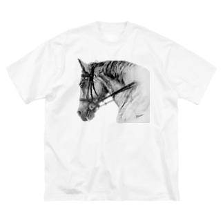 がんばる馬Tシャツ(ブラック)  Big silhouette T-shirts