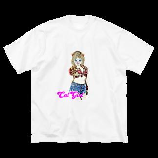 Rock catのCAT GIRL ALOHA Big silhouette T-shirts