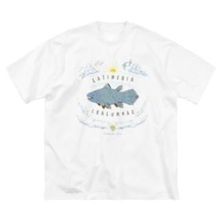 (線/カラー)シーラカンス  Big silhouette T-shirts