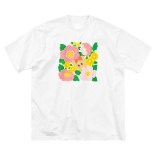 ハナとクマ Big silhouette T-shirts