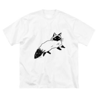 ねそべりねこ Big silhouette T-shirts