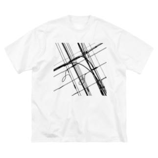 電線9 Big silhouette T-shirts