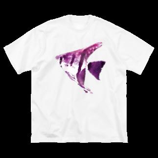 zikomanking SHOPの紫魚(しぎょ) Big silhouette T-shirts