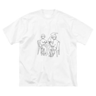 朝のニュース Big silhouette T-shirts
