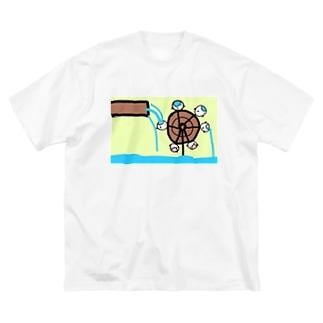 水車として手伝うねこたちです Big silhouette T-shirts