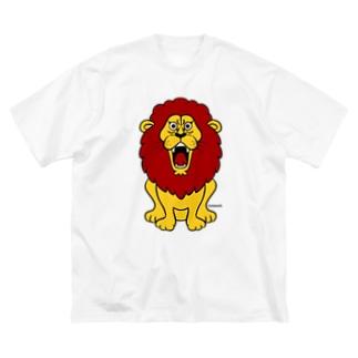 吠えるライオン(赤髪) Big silhouette T-shirts