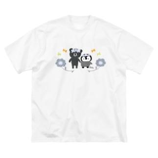 お花 すぎぐま ころっぺ 白黒 Big silhouette T-shirts