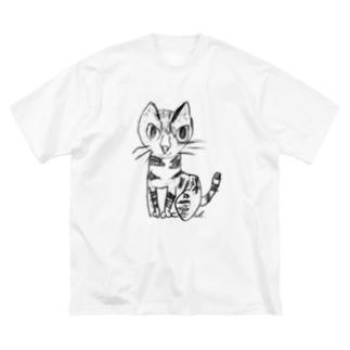 猫のクーちゃん(線黒) Big silhouette T-shirts