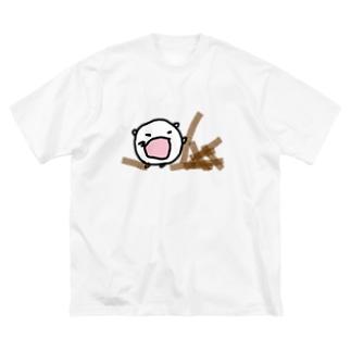 つまずいてゴボウをぶちまけるねこです Big silhouette T-shirts
