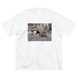 島猫not遠近法 Big silhouette T-shirts