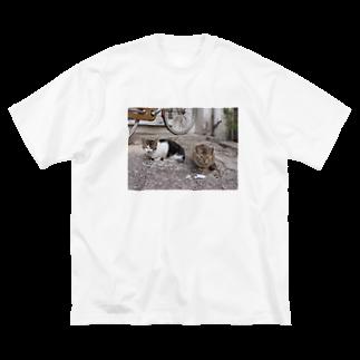 きしの島猫not遠近法 Big silhouette T-shirts