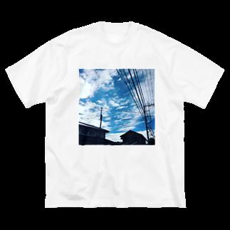 湘南の風景  Seaside landscape at Shonan area in japanの電線のある風景 Big silhouette T-shirts