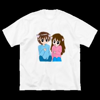Neroliの猫耳カップル Big silhouette T-shirts