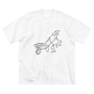 HOUSOの現代版鳥獣戯画 工事現場の蛙 Big silhouette T-shirts