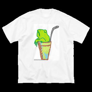 アメリカンベースのソフトドリンク・カエル Big silhouette T-shirts
