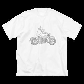 HOUSOの鳥獣戯画現代版 バイク Big silhouette T-shirts