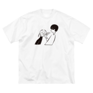 ピザをくれ Big silhouette T-shirts