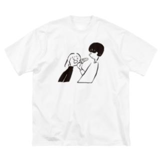 ピザをくれ Big silhouette T-shirts