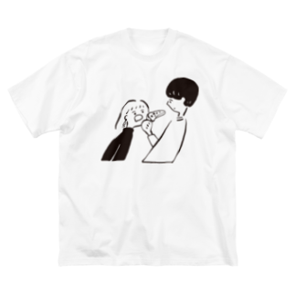 Tomita maryのピザをくれ Big silhouette T-shirts