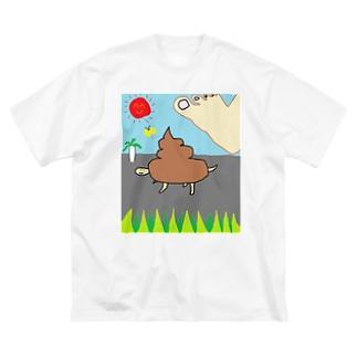 いきのびろ!うんカメくん Big silhouette T-shirts