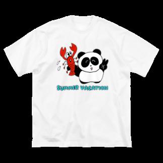 りかちゃんのパンダとえび Big silhouette T-shirts