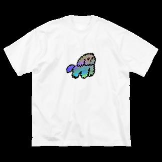 モニョチタポミチのモジャ犬 Big silhouette T-shirts