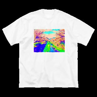 ごちゃごちゃのデジタルお花見🌸 Big silhouette T-shirts