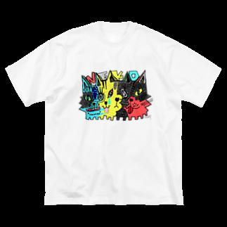 ZENART(ゼンアート)の4猫 ヨネコ Big silhouette T-shirts