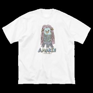 無彩色デザイン販売所のChildren's Art / AMABIE アマビエ Big silhouette T-shirts