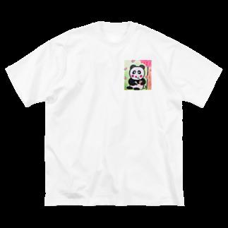 ル.ボヌールのお花見パンダちゃん Big silhouette T-shirts