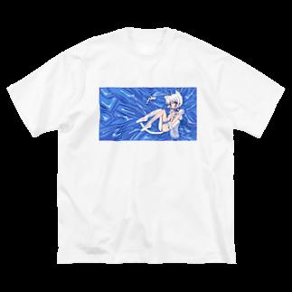𝓎𝓊𝒾'𝓈 𝑜𝓃𝓁𝒾𝓃𝑒 𝓈𝒽𝑜𝓅の横たわるねこ あお ビッグシルエットTシャツ Big silhouette T-shirts