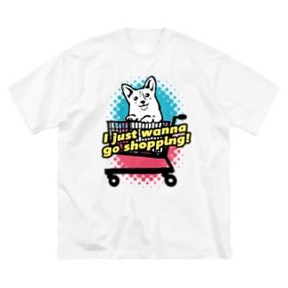 コーギー in ショッピングカート Big silhouette T-shirts